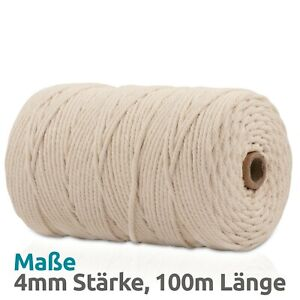 Makramee Garn - Natur Baumwolle - 100m x 4mm - Macrame Garn - Basteln Wandbehang