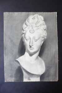 FRENCH SCHOOL 1892 - DECORATIVE ACADEMICAL STUDY NOBLE LADY - SIGNED CHARCOAL