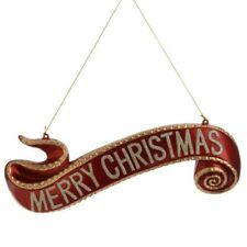 "RAZ Imports 3200803 Traditional Red & Gold 15.5"" Merry Christmas Banner Ornament"