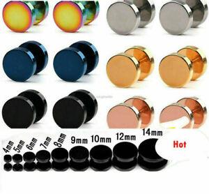 1 Pair Cool Punk Black Stainless Steel Ear Stud Men/Womens Piercing Earrings New