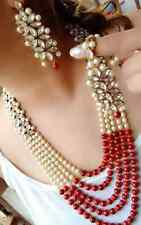 WHITE RED BEADS & PEARL INDIAN NECKLACE SET RANI HAAR BOLLYWOOD WEDDING JEWELRY