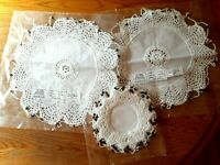 Lot Natural Cotton Crocheted Doilies bowl Cover W Glass Bead Weight India Doily