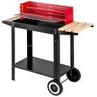 Barbecue chariot grill mobile 2 roues charbon de bois acier bbq de jardin