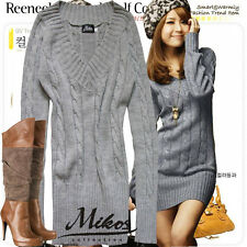 Sexy Damen Long Lang Tunika Pullover Strickjacke Japan Style! Farbwahl! M 38 925
