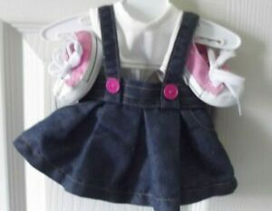 """18"""" Doll Clothes Jean Skirt White Shirt & Pink Shoes LOT FITS OG / AMERICAN GIRL"""