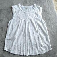 Women's Lucky Brand Cotton Sleeveless White Embroidered Tank Top Shirt Size 1X