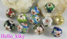40Pcs Mixed colour cloisonne enamel round beads 15mm M2186