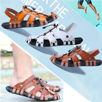 New Men's Strap Leather Sandals Casual Shoes Summer Beach Slip On Flat Slippers