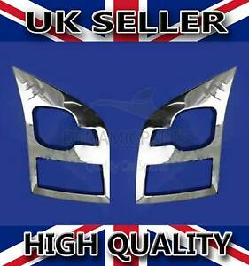 FOR FORD TRANSIT MK7 CHROME HEAD LIGHT LAMP COVERS TRIM SURROUND S.STEEL 00-13
