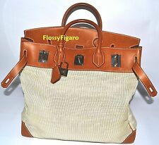 AUTHENTIC HERMES HAC 45CM BIRKIN BARENIA CRINOLENE TRAVEL PALLADIUM HW PREOWNED