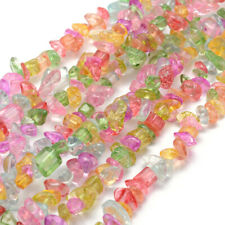 5 Strands Chip Crackle Glass Beads Colorful Loose Beads for Jewelry 5~8mm