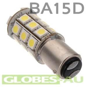 2x 12V LED BA15D LIGHT GLOBE WHITE 18 SMD 5050 Caravan Car Auto Indicator