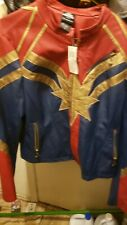 Her Universe CAPTAIN MARVEL JACKET Faux Leather Junior L Hot Topic Cosplay NWT