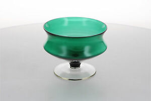 A vintage green glass bowl Midcentury 1960's 1970's Retro