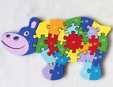 ds 3D Puzzle Legno Ippopotamo Educativo Lettere Numeri Bambini Imparare dfh
