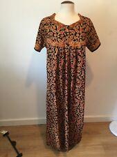 Vintage Maxi Dress kaftan Size L cotton Indian block print paisley boho G93