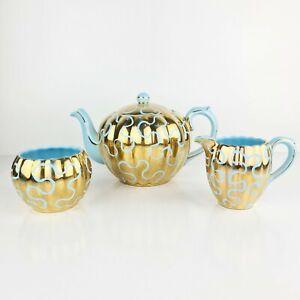 Vintage Blue And Gold Teapot Set Sugar Bowl Creamer High Tea Gibsons England