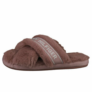 Tommy Hilfiger Furry Home Womens Mauve Slippers Shoes - 7.5 US