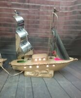 Vintage Sailboat TV Lamp in Ivory Ceramic with Gold Trim and Steel Sails