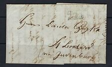 1850 Austria stampless cover from Graz (blue) to Bad Sankt Leonhard (green)