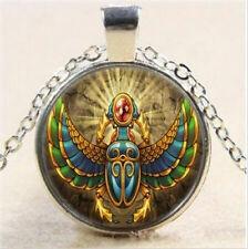 Egipcio Escarabajo Foto Cabujón Vidrio Tibet Cadena De Plata Collar Con Colgante