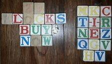 (29) Antique Wooden Toy Blocks w/ Letters And Numbers - ABC, 123