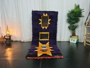 """Vintage Moroccan Handmade Rug 3'x7'1""""  Berber Geometric Purple Berber Wool Rug"""