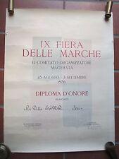DIPLOMA MACERATA FIERA DELLE MARCHE  RILASCIATO ALLA DITTA   S.I.M.A. JESI 1956