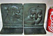 ANTIQUE GRIFFOUL BRONZE ART DECO MUSEUM EGYPTIAN OWL STATUE SCULPTURE BOOKENDS