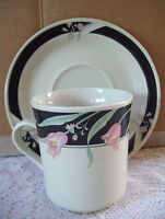 China Pearl SERENA  CREAM BACKGROUND Cup & Saucer Set Black & Pink Made In China