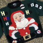 Vintage Berek Ugly Christmas Sweater Holy Grail🎄Ho Ho Ho Giant Santa Head L XL