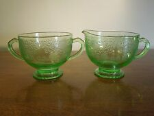 Antique Uranium Depression Glass Green Art Deco Creamer Sugar Bowl