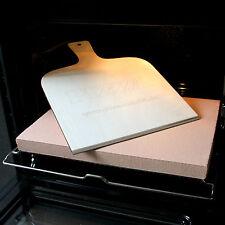 PIZZASTEIN / BROTBACKSTEIN Profi-Set, Schamotte 40x30x3cm, Pizzaschaufel, Rezept
