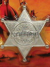 6 Point Ball Tipped Sheriff Star Badge Wild West Western Law Cowboy Fancy Dress