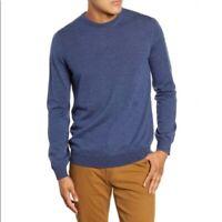 NWOT Brax Mens Sz XL Rick Elbow Patch Merino Wool Sweater Blue