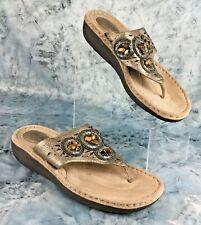 Clarks Artisan Women's Bronze Leather Thong Sandals w/ Beads, Flats  Size 9.5 M
