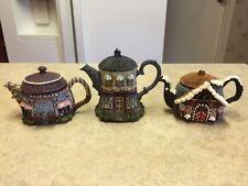 Hometown Teapot Cottages Set Of 3 Hardware, Antiques, Gingerbread