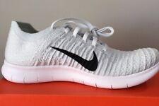 Nike Women's FREE RUN FLYKNIT - PLATINUM WHITE / BLACK  831070 101  SZ 9.5