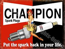 Vintage Garage, Champion Spark Plugs, Funny Pin-up Girl Car Large Metal Tin Sign