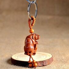 Wood Carving Chinese Zodiac Feng Shui Geomancy Tiger Statue Key Chain Ring