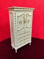 Dollhouse Miniature  Wooden  Hand - Painted Armoire / Cabinet
