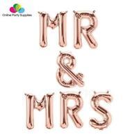 """16"""" Rose Gold MR & MRS Foil Balloon Banner"""