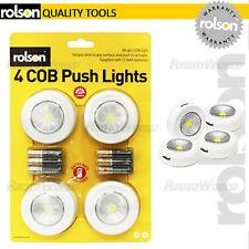 Rolson 4 Piezas Mega Brillante Luz de empuje COB Led Pilas Duracell Inc pegar en
