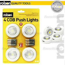 Rolson 4 Piece Mega Bright COB LED Push Light DURACELL Batteries Inc Stick on
