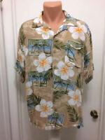 Caribbean Joe Island Mens L large  Tropical Rayon Hawaiian Camp Aloha Shirt