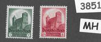 #3851     MH 1934 Nuremberg Congress stamp set / Sc 442-443 Third Reich Germany
