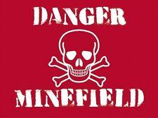 Danger minefield, skull on warm cross warning funny gift,