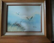 VINTAGE  CANADIAN GEESE FRAMED  OIL PAINTING ON CANVAS PASTEL SIGNED K. HILLS