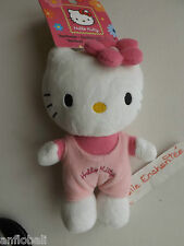 PLUSH HELLO KITTY DUNGAREES PINK 6 5/16in NEW WITH SUCTION CUP JEMINI