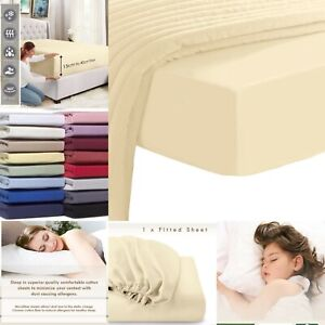EXTRA DEEP FITTED SHEET 100/% EGYPTIAN COTTON  40CM 200 THREAD WHITE RED IVORY